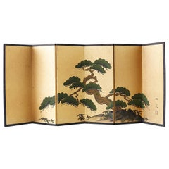 Japanese Miniature Six Panel Screen of Ancient Pine