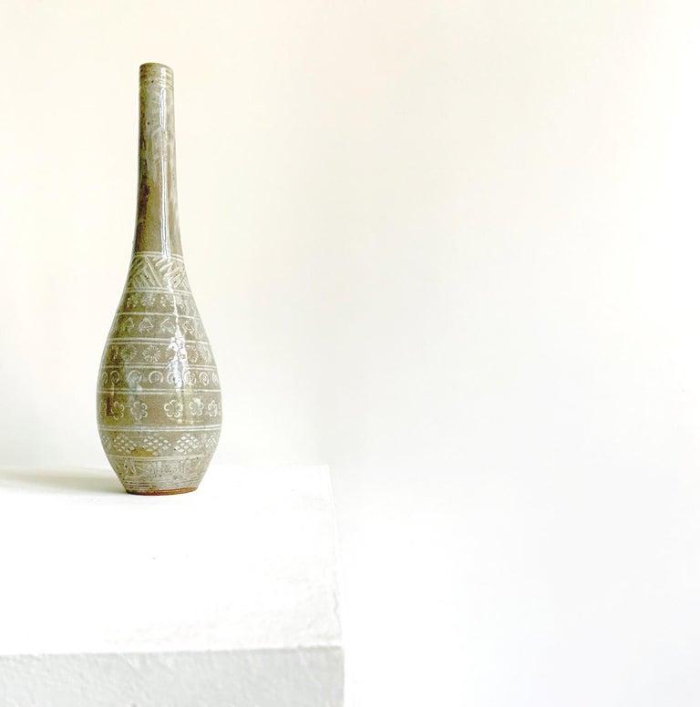 Japanese Mishima Ceramic Vase Meiji Period For Sale 6