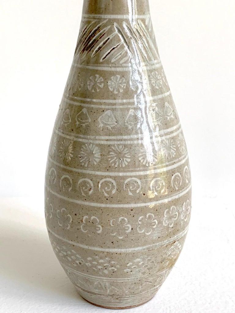 19th Century Japanese Mishima Ceramic Vase Meiji Period For Sale