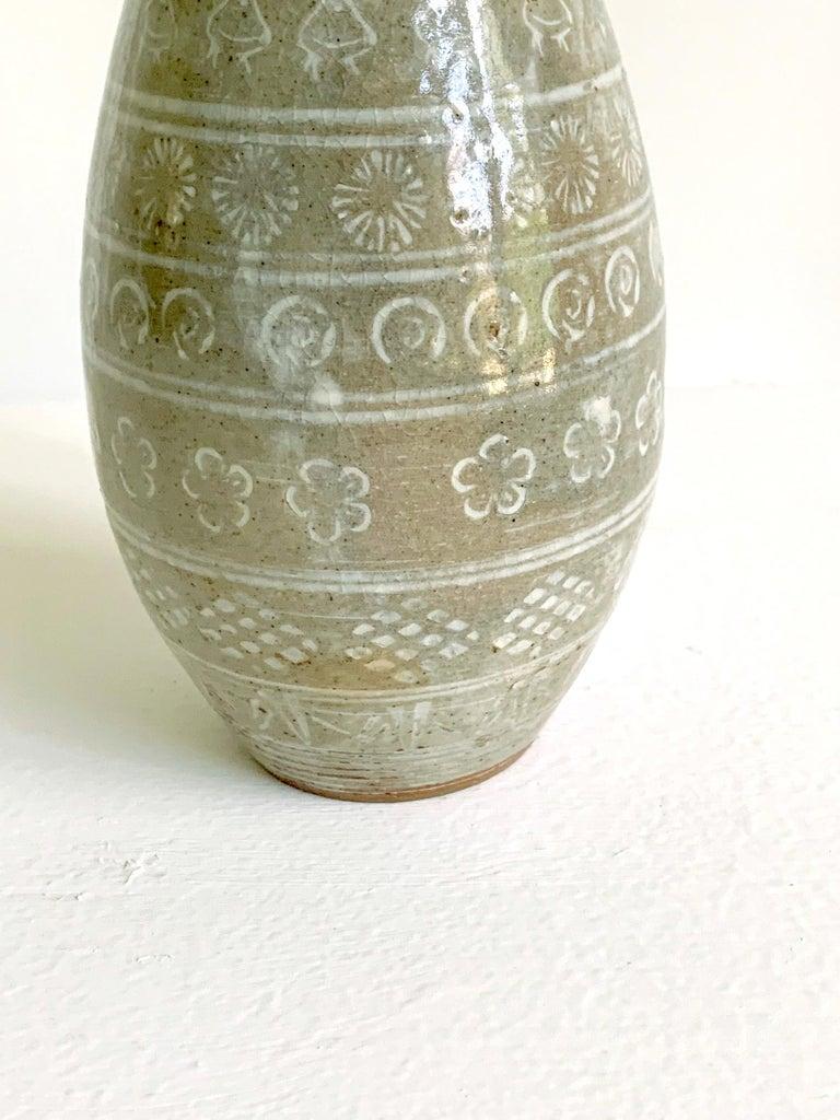 Japanese Mishima Ceramic Vase Meiji Period For Sale 2