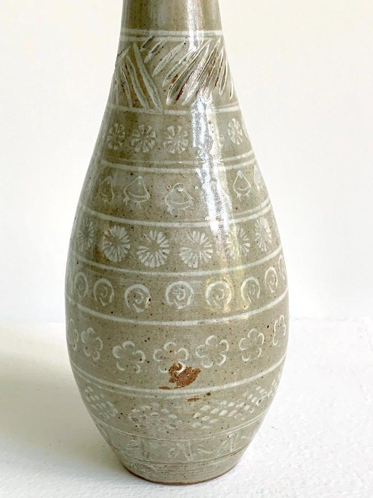 Japanese Mishima Ceramic Vase Meiji Period For Sale 3