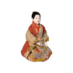 Japanese Mitsuore Ningyo of a Girl, a Jointed Costume Doll, Meiji Period