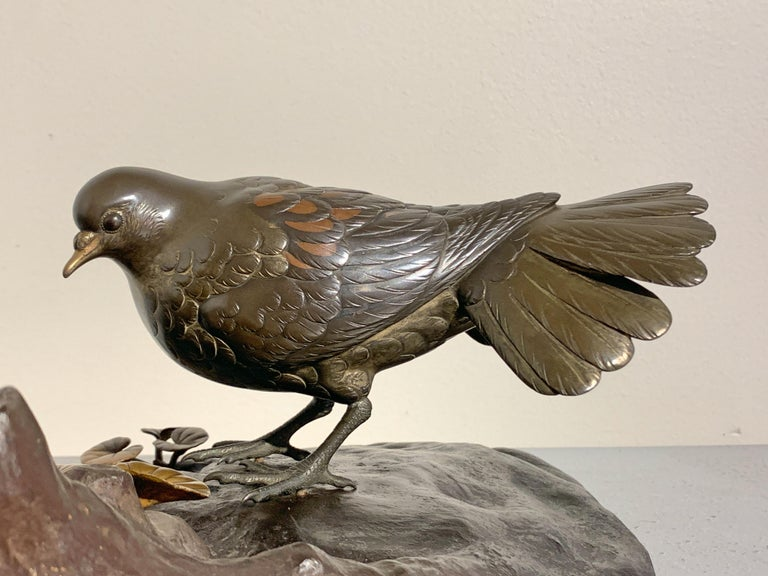 Japanese Mixed Metal Okimono of Doves by Seifu, Meiji Period, Late 19th Century For Sale 3