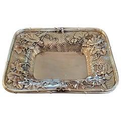 Japanese Miyamoto Meiji Period Solid Silver Basket