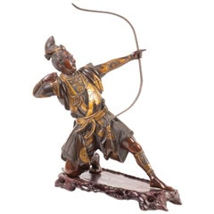 Japanese Miyao Style Bronze Warrior Statue, Late 19th Century