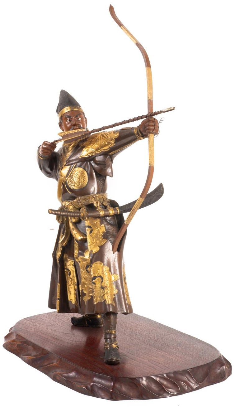 Japanese Miyao Style Warrior, in Bronze and Gilt, Late 19th Century In Good Condition For Sale In Brighton, Sussex