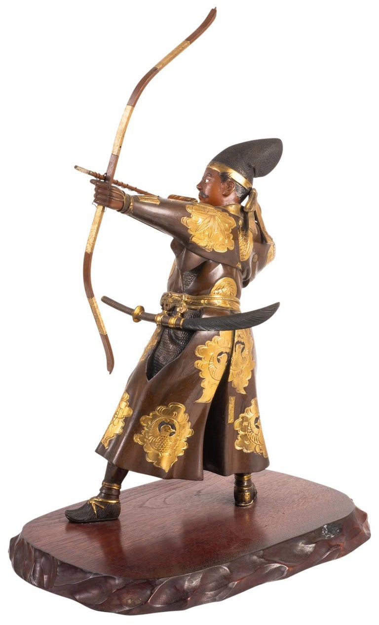 Japanese Miyao Style Warrior, in Bronze and Gilt, Late 19th Century For Sale 1