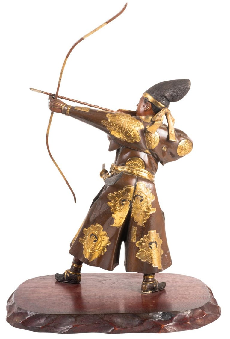 Japanese Miyao Style Warrior, in Bronze and Gilt, Late 19th Century For Sale 2