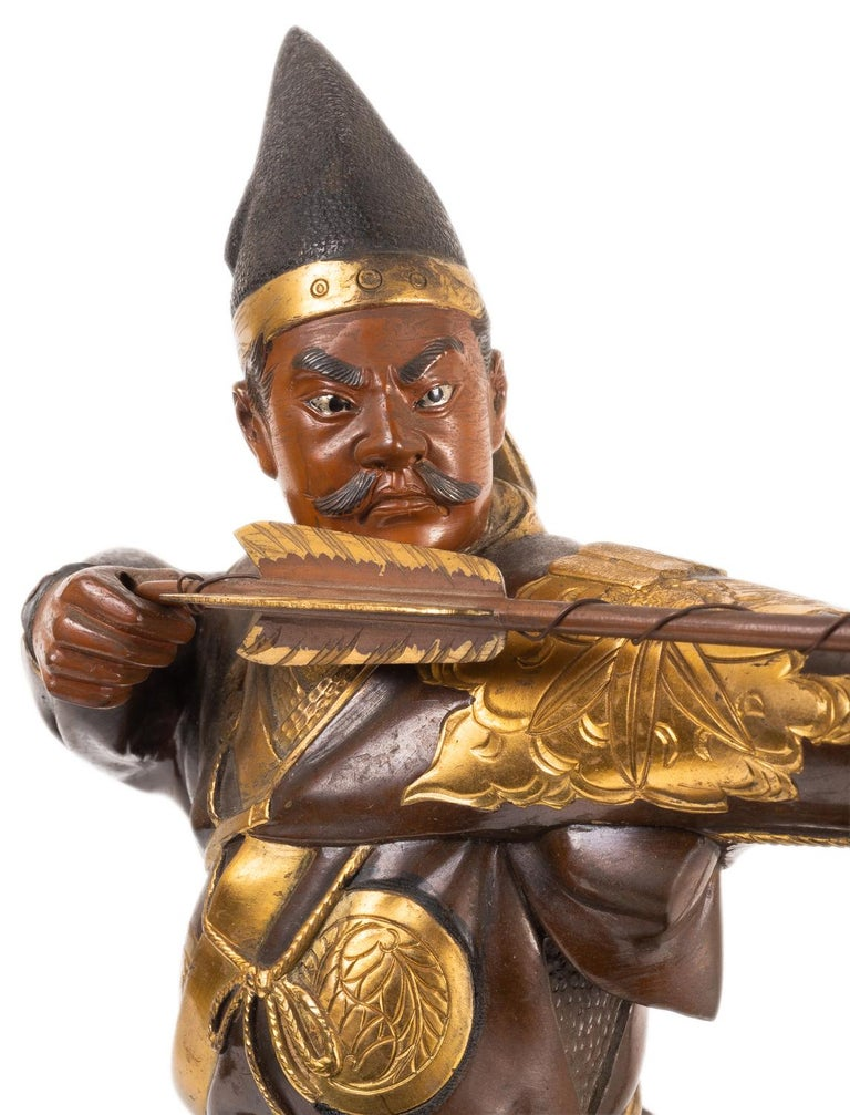 Japanese Miyao Style Warrior, in Bronze and Gilt, Late 19th Century For Sale 5