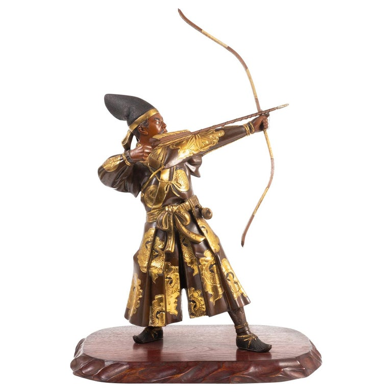 Japanese Miyao Style Warrior, in Bronze and Gilt, Late 19th Century For Sale