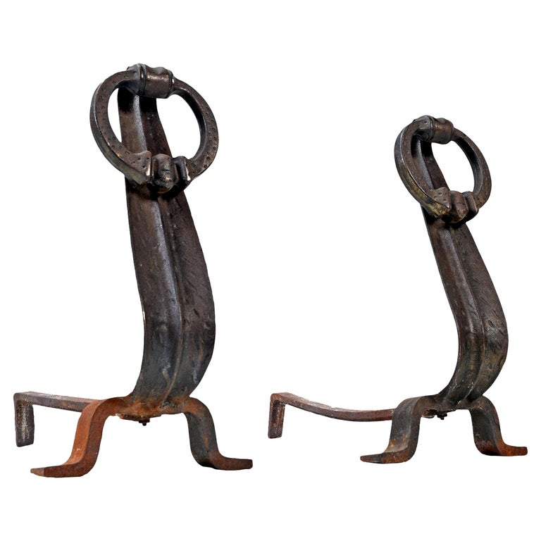 Japanese Modernist Cast Iron Suspended Ring Andirons For Sale