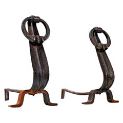 Japanese Modernist Cast Iron Suspended Ring Andirons