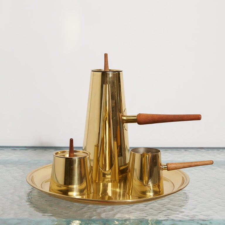 20th Century Japanese Modernist Four-Piece Brass Coffee or Tea Serving Set For Sale