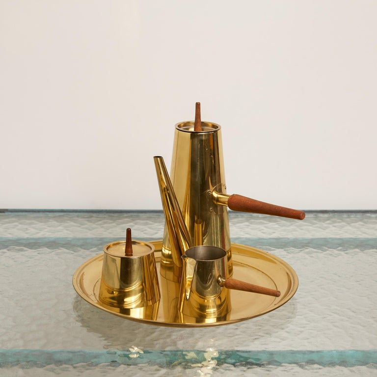 Japanese Modernist Four-Piece Brass Coffee or Tea Serving Set For Sale 1