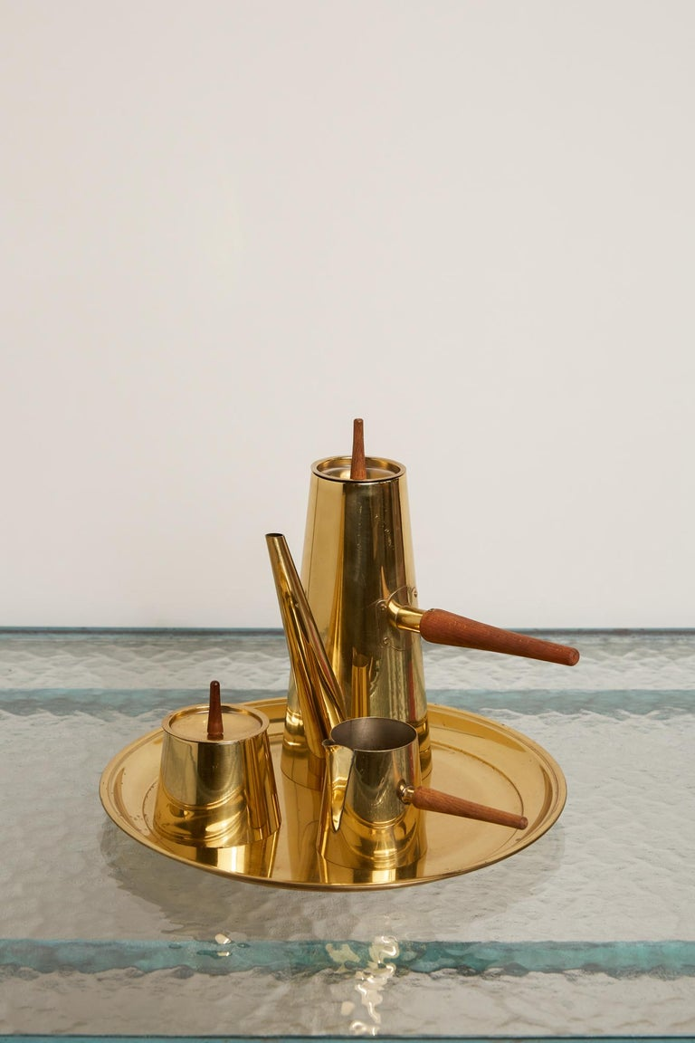 Japanese Modernist Four-Piece Brass Coffee or Tea Serving Set For Sale 2