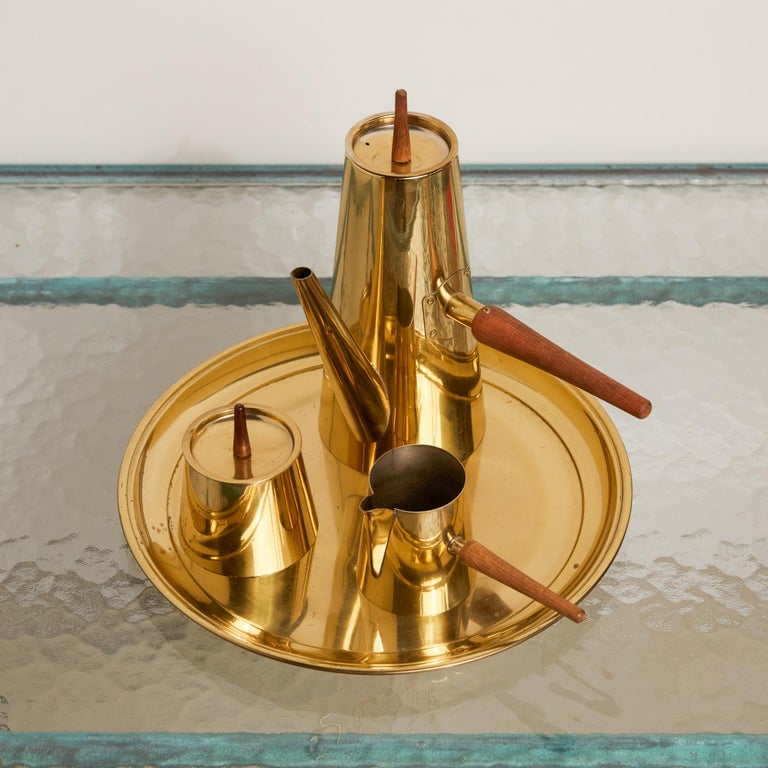 Japanese Modernist Four-Piece Brass Coffee or Tea Serving Set For Sale 3