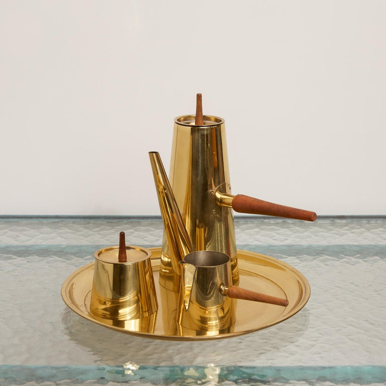 Japanese Modernist Four-Piece Brass Coffee or Tea Serving Set For Sale 4