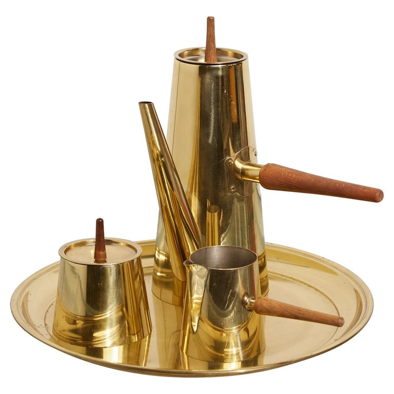 Japanese Modernist Four-Piece Brass Coffee or Tea Serving Set For Sale