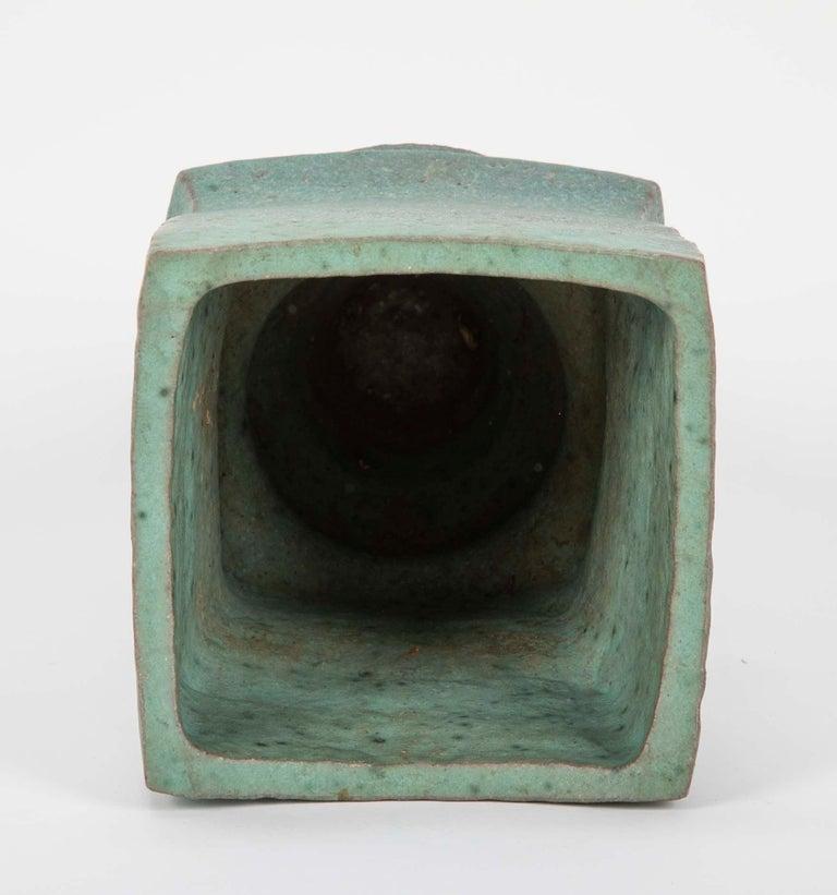 Japanese Modernist Glazed Ceramic Vase For Sale 4