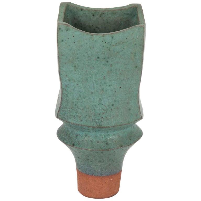 Japanese Modernist Glazed Ceramic Vase For Sale