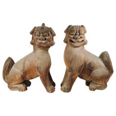 Japanese Momoyama Carved Wooden Shinto Temple Lion Dog Figures
