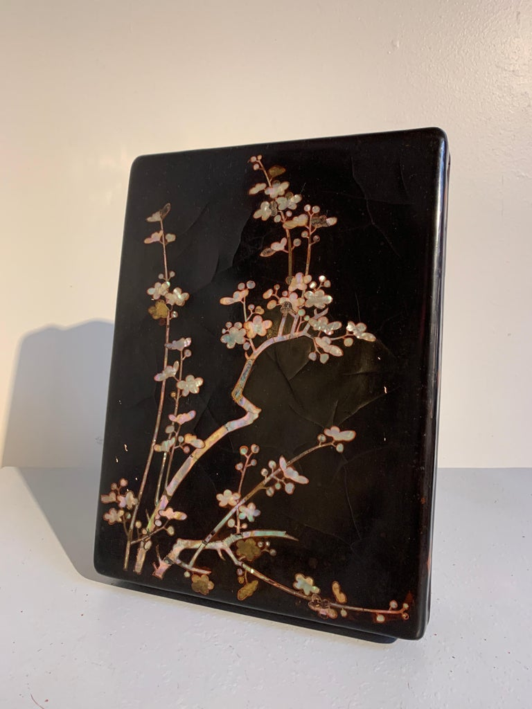 Edo Japanese Momoyama Period Black Lacquer and Mother of Pearl Box, 16th Century For Sale