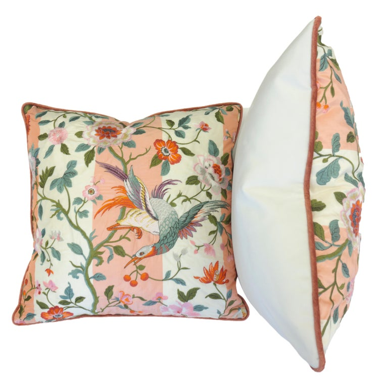 Embroidered Japanese Motif Throw Pillows For Sale