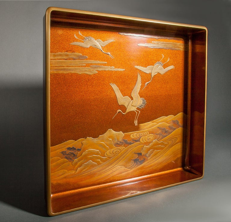 Japanese Nashiji Lacquer Tray with Crane and Wave Design In Good Condition For Sale In Hudson, NY