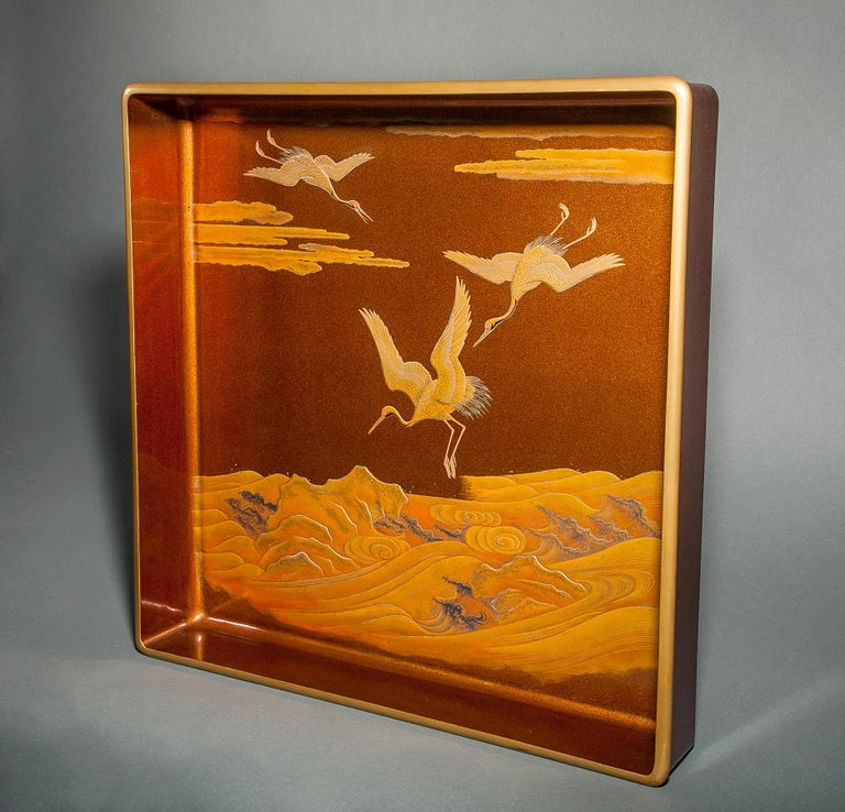 19th Century Japanese Nashiji Lacquer Tray with Crane and Wave Design For Sale