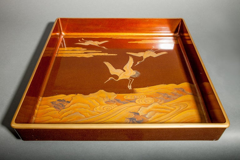 Gold Japanese Nashiji Lacquer Tray with Crane and Wave Design For Sale