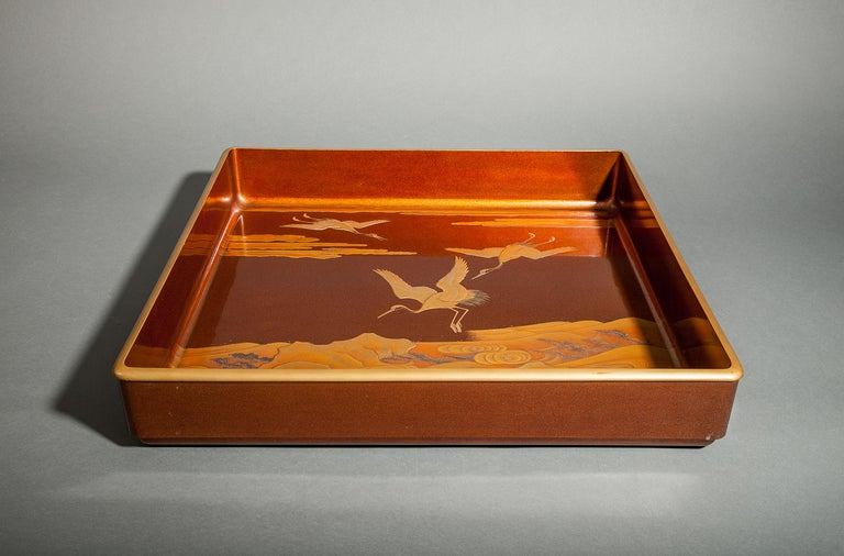 Japanese Nashiji Lacquer Tray with Crane and Wave Design For Sale 1
