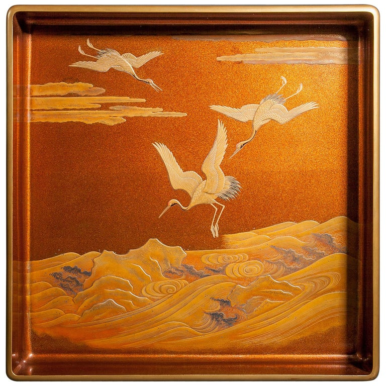 Japanese Nashiji Lacquer Tray with Crane and Wave Design For Sale