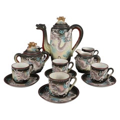 Japanese Nippon Hand Painted Moriage Dragonware Porcelain Tea Set