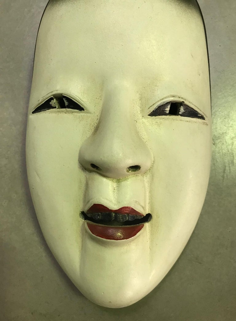 Showa Japanese Okame Ko-Omote Wood Carved Noh Theater Mask For Sale