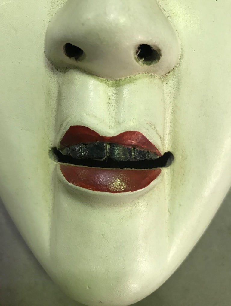 Hand-Painted Japanese Okame Ko-Omote Wood Carved Noh Theater Mask For Sale