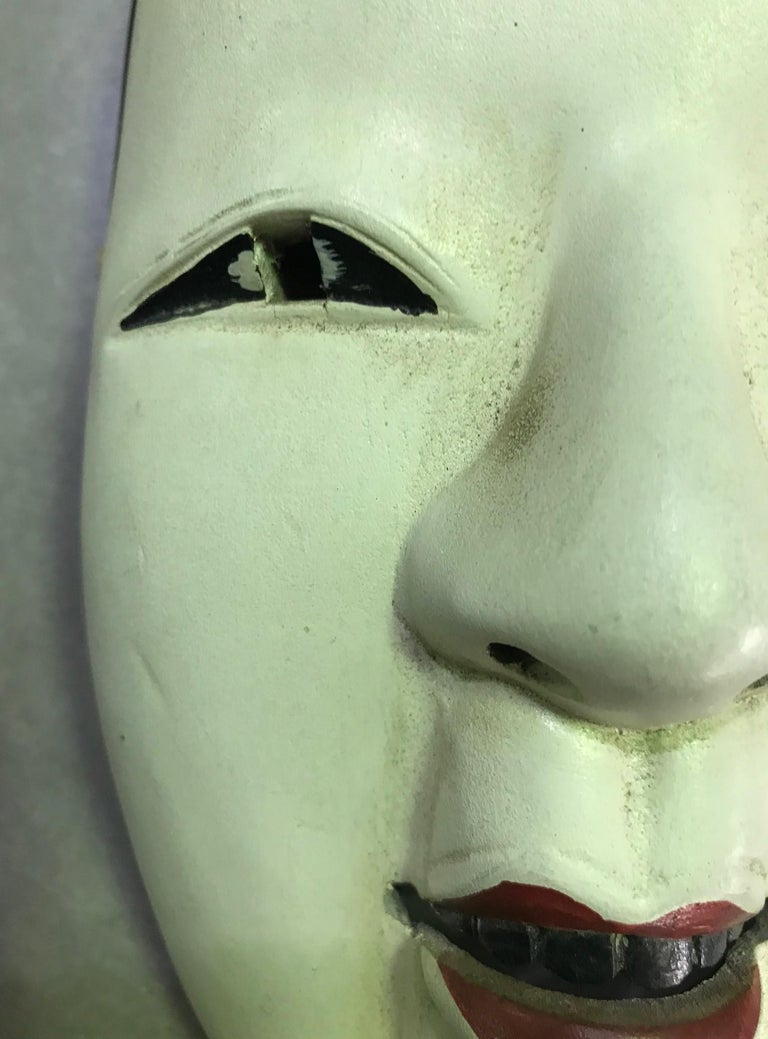 Japanese Okame Ko-Omote Wood Carved Noh Theater Mask In Good Condition For Sale In Studio City, CA