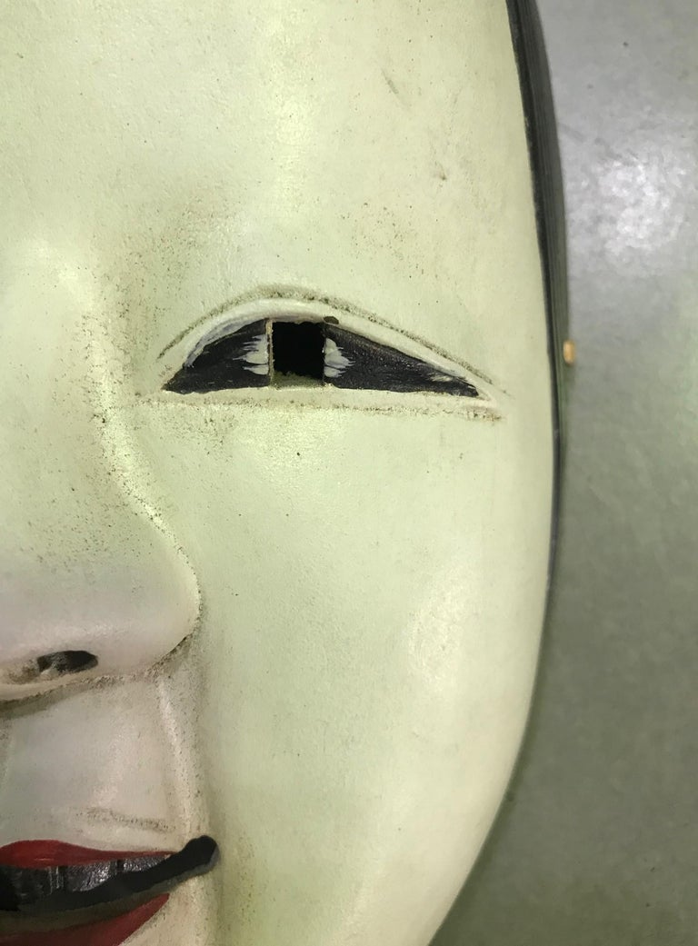 20th Century Japanese Okame Ko-Omote Wood Carved Noh Theater Mask For Sale