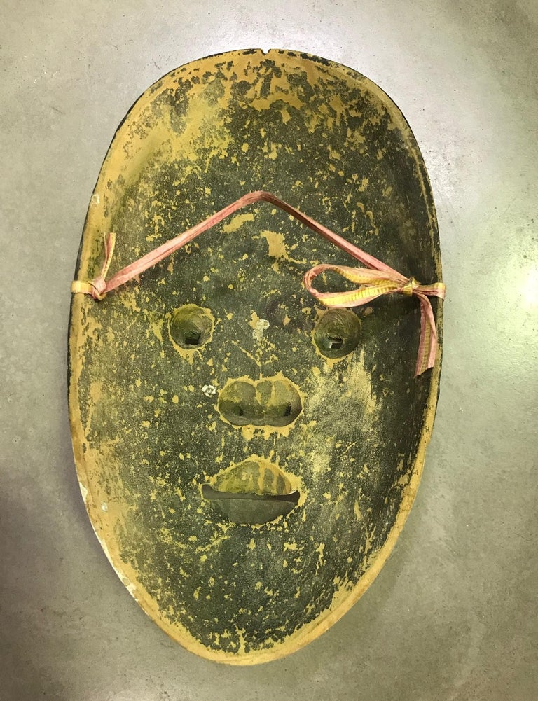 Japanese Okame Ko-Omote Wood Carved Noh Theater Mask For Sale 3