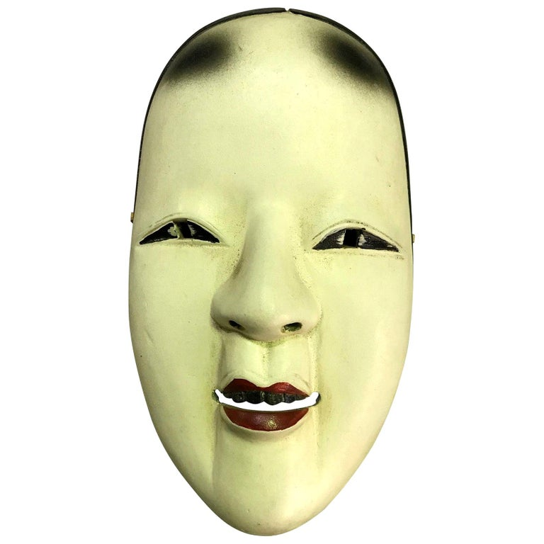 Japanese Okame Ko-Omote Wood Carved Noh Theater Mask For Sale