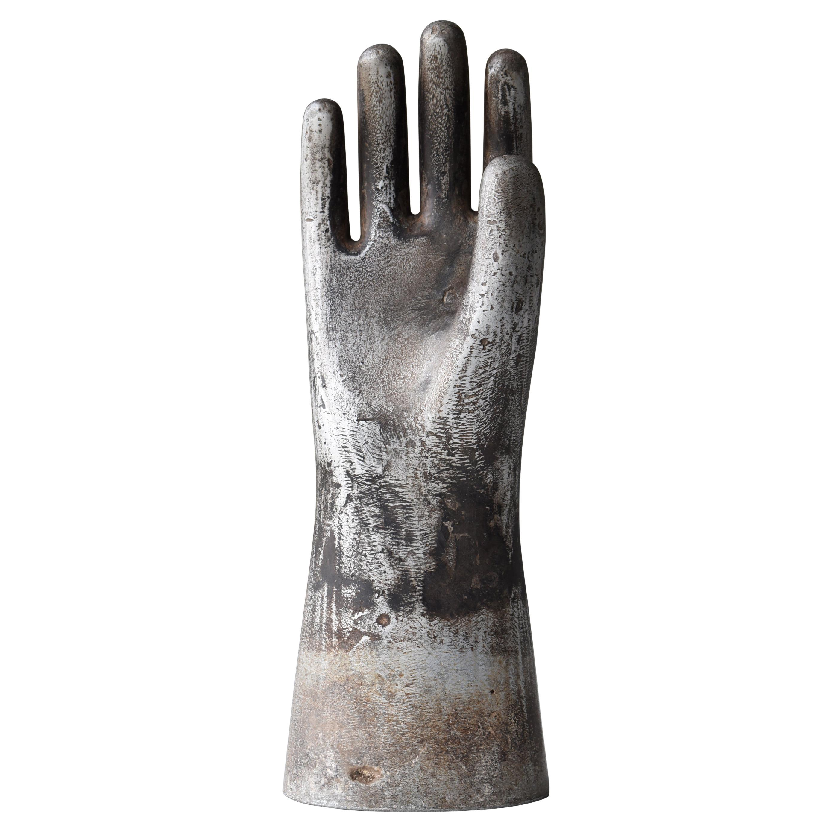 Japanese Old Aluminum Glove Mold 1920s-1950s/Hand Sculpture Figurine Vintage Art