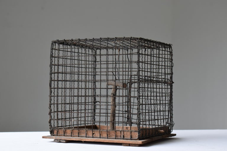 Iron Japanese Old Birdcage 1920s-1950s/Antique Object Figurine Wabisabi Art For Sale