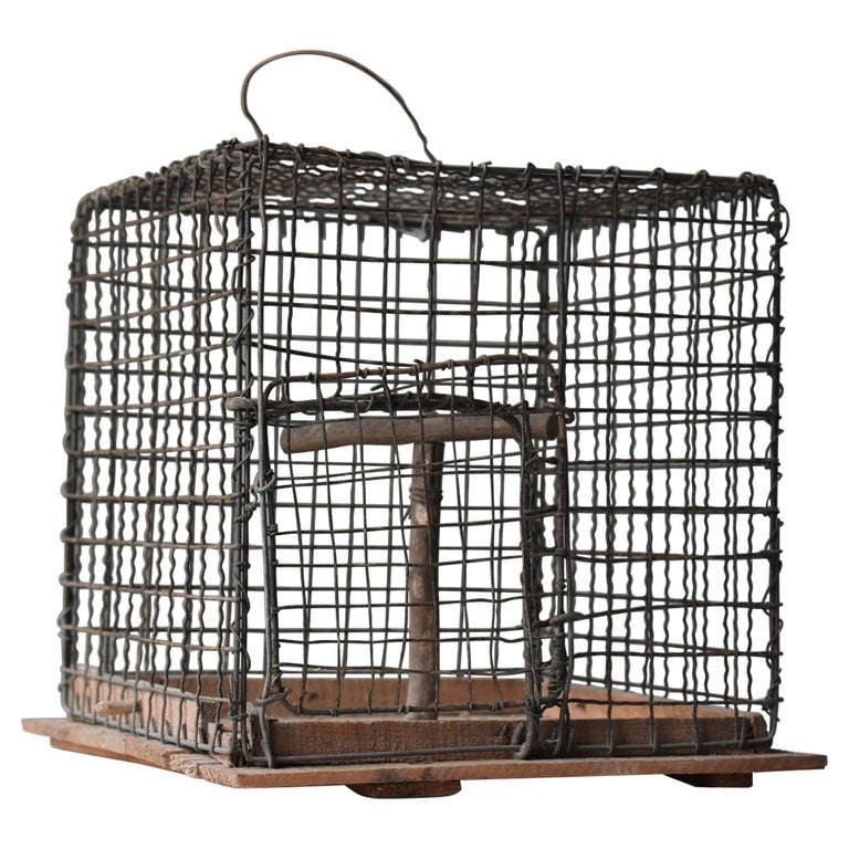 Japanese Old Birdcage 1920s-1950s/Antique Object Figurine Wabisabi Art For Sale