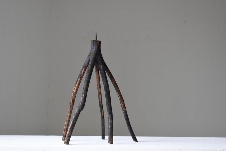 Cedar Japanese Old Candle Stand 1860s-1900s/Antique Object Wabisabi Folk Art Figurine