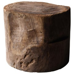 Japanese Old Coffee Table Wooden Block 1860s-1920s / Antique Mortar Side Table