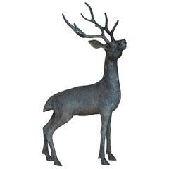 Japanese Old Copper Deer Object/Vintage Figurine Animal Decor Decoration Art