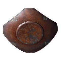 Japanese Old Copper Forging Tray / Antique Tray / Confectionery Tray / Tea Tray