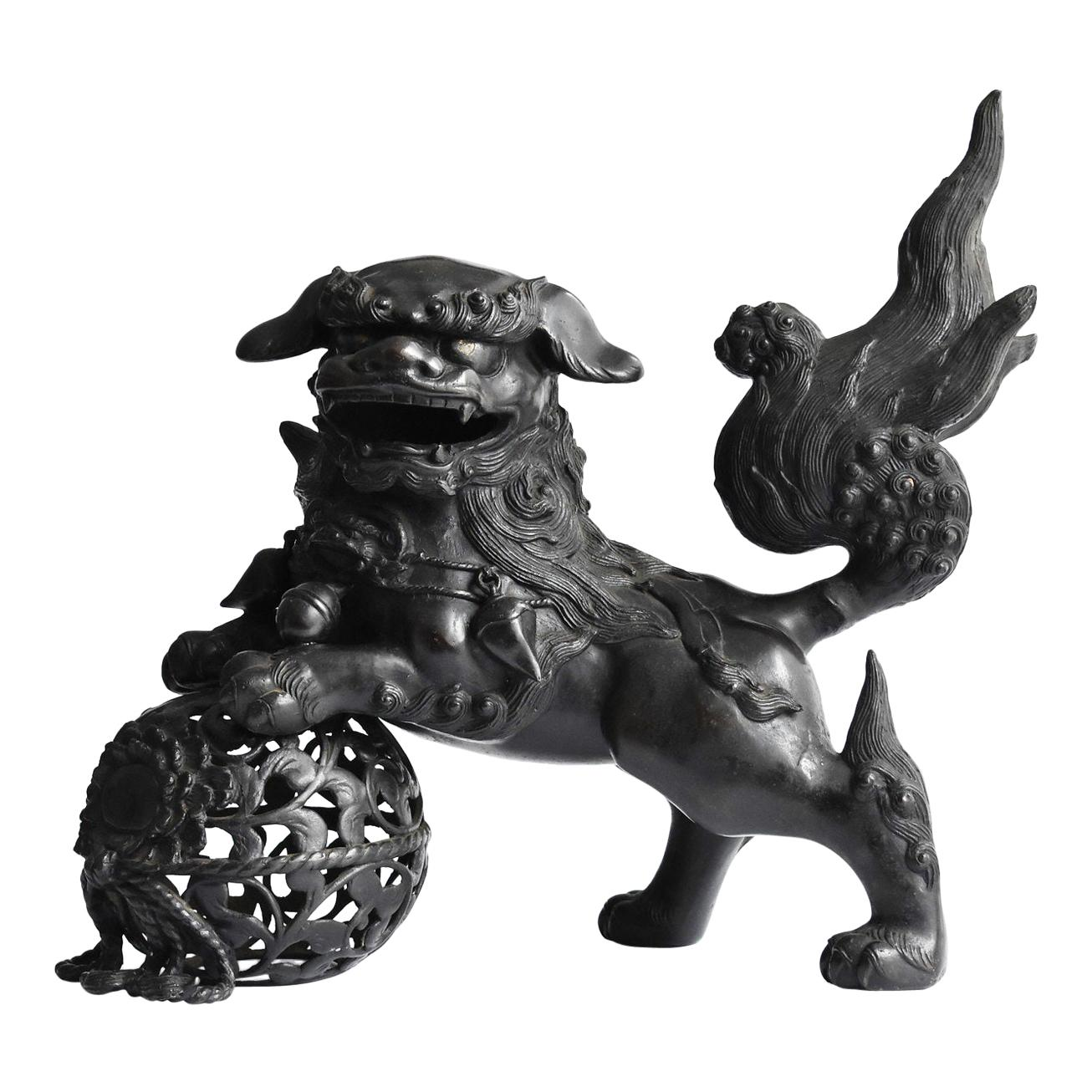 Japanese Old Copper Lion Figurine / Large Casting Figurine/Japanese Antique