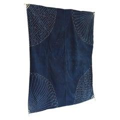 "Japanese Old Embroidered Indigo Dyed Cloth ""fu-ro-shi-ki"" / Tapestry"
