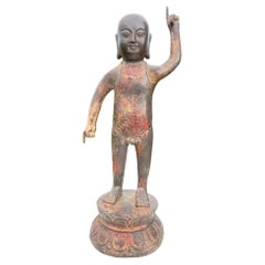 """Japanese Old Gilt Bronze """"Baby"""" Buddha Points To Heaven and Earth"""