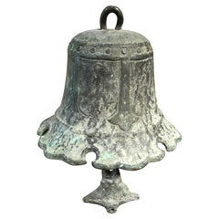 """Japanese Old Hand Cast Bronze Temple Bell with """"Cloud"""" Chime"""